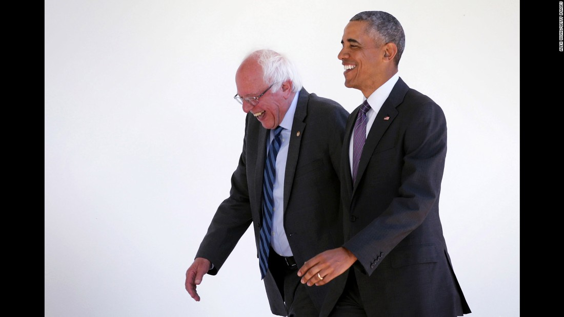 "U.S. President Barack Obama, right, walks with U.S. Sen. Bernie Sanders at the White House on Thursday, June 9. The two met for more than an hour. When it was over, Sanders vowed to work with Hillary Clinton, the Democratic Party's presumptive nominee, <a href=""http://www.cnn.com/2016/06/09/politics/bernie-sanders-washington/index.html"">and Obama formally endorsed Clinton.</a>"