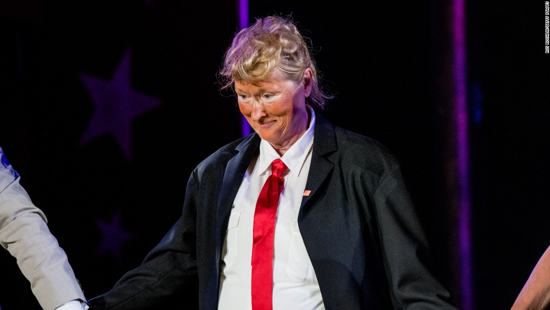"Actress Meryl Streep <a href=""http://www.cnn.com/2016/06/07/politics/meryl-streep-donald-trump-costume/"" target=""_blank"">performs as presidential candidate Donald Trump</a> during the Public Theater Gala in New York on Monday, June 6. Christine Baranski played Hillary Clinton in the musical faux-debate."