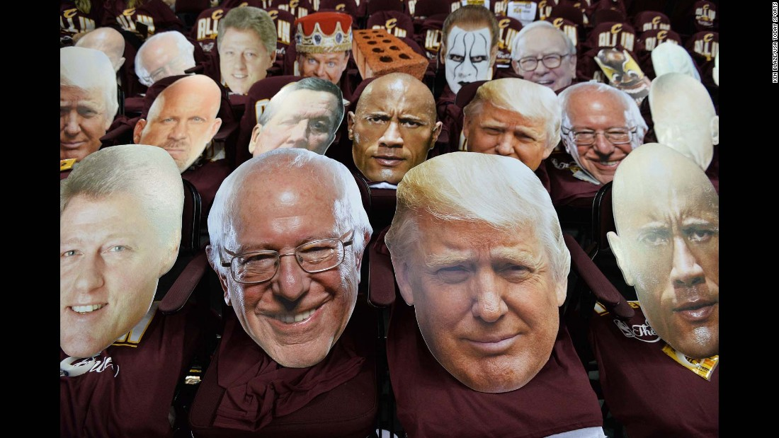 Celebrity cutouts, including those of prominent political figures, sit in the stands of Cleveland's Quicken Loans Arena prior to Game 3 of the NBA Finals on Wednesday, June 8. The heads are commonly used by fans to distract opposing free-throw shooters.