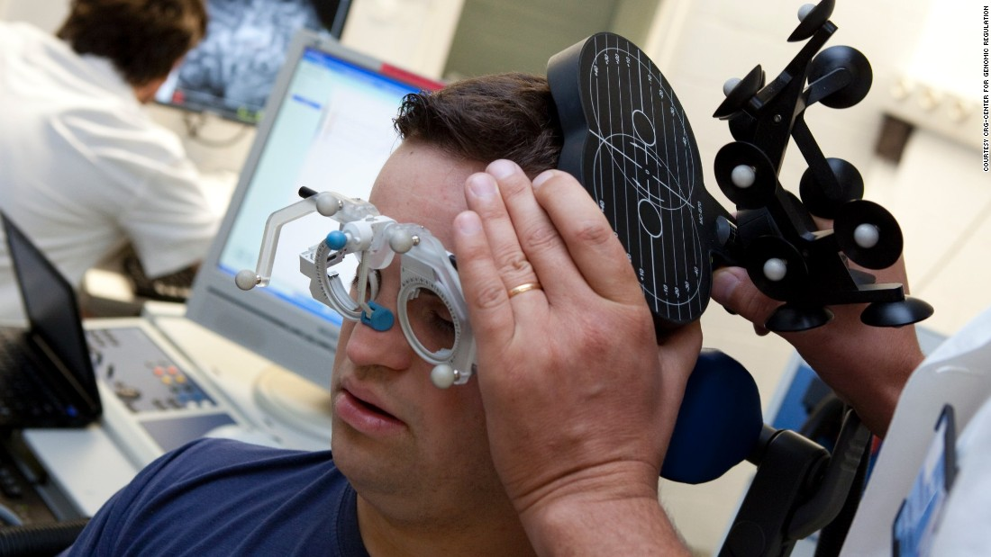 Scientists at the CRG-Center for Genomic Regulation in Spain trialed the compound EGCG, found in green tea extract, in patients with Down syndrome to see if it could reduce the overexpression of genes that cause the disease symptoms. Pictured, a trial participant has his brain scanned to monitor activity.