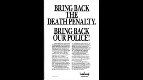 A pro death penalty Donald Trump took out The New York Times.