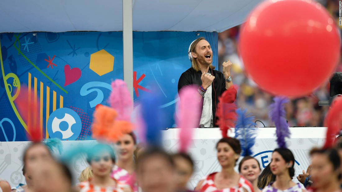 French DJ David Guttea performs during the opening ceremony.