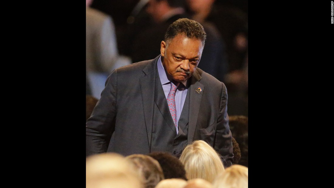 The Rev. Jesse Jackson arrives at the ceremony.