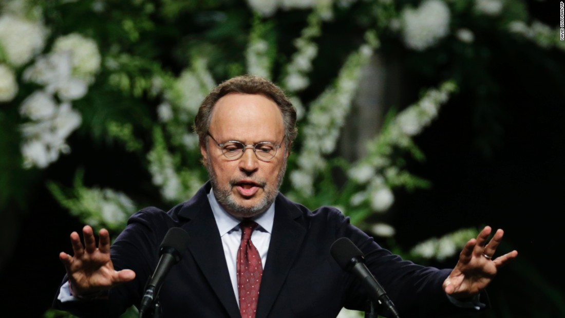 """Comedian Billy Crystal delivers a eulogy. He said Ali """"was a tremendous bolt of lightning, created by Mother Nature out of thin air."""""""