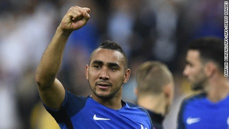An emotional Dimitri Payet acknowledges the supporters after his magical matchwinner.
