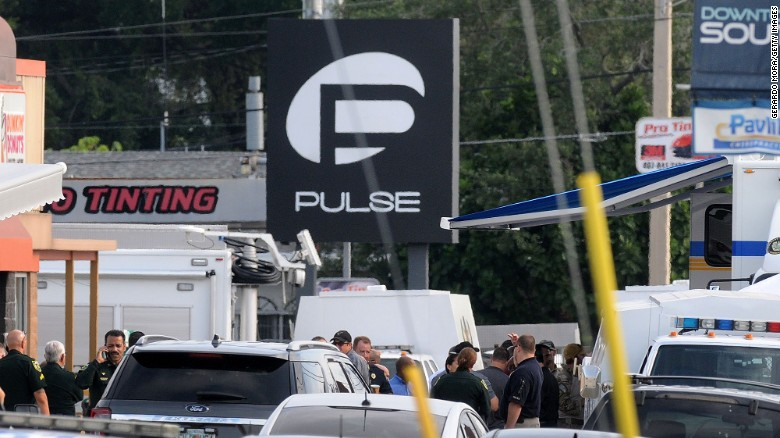 Orlando police officers seen outside of Pulse nightclub.