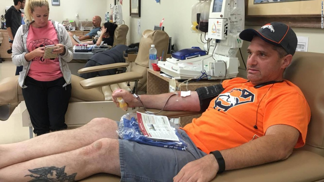 Jeremy Glatstein donates blood in Orlando on June 12. He drove an hour to the donation center to show his support for the shooting victims.