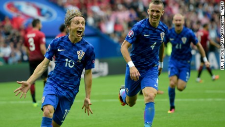 Luka Modric fired Croatia ahead four minutes before the interval.