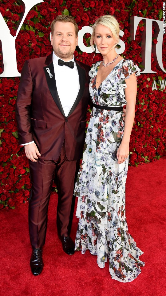 Host James Corden and his wife, Julia Carey, attend the 70th Annual Tony Awards at the Beacon Theater on Sunday, June 12, in New York.