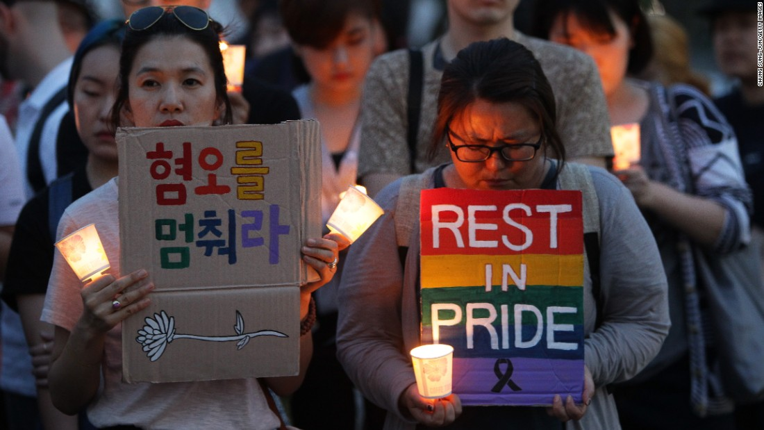 People gather for a vigil in Seoul, South Korea, on June 13.