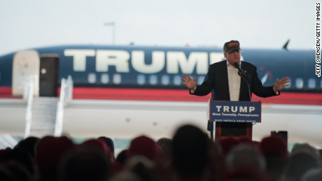 Republican candidate for President Donald Trump speaks to supporters at a rally at Atlantic Aviation on June 11, 2016 in Moon Township, Pennsylvania.