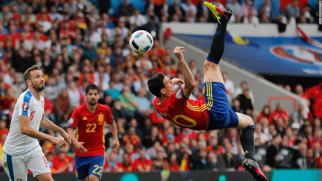 Spanish striker Aritz Aduriz attempts an overhead kick.