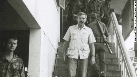 Martha Peterson's late husband, John, in Laos in 1972