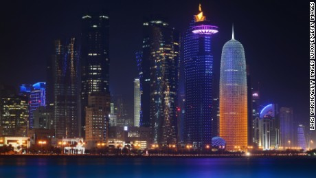 DOHA, QATAR - JANUARY 07:  The illuminate skyline of Doha is seen on January 7, 2014 in Doha, Qatar.  (Photo by Lars Baron/Getty Images)