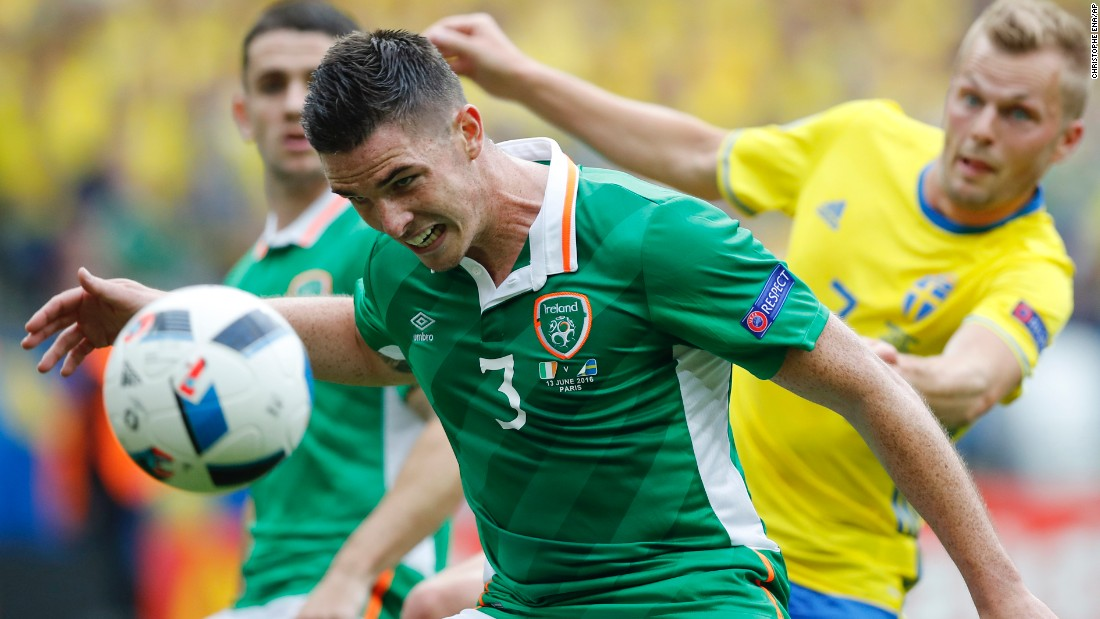 Ireland's Ciaran Clark accidentally heads the ball into his own net during a 1-1 draw with Sweden.