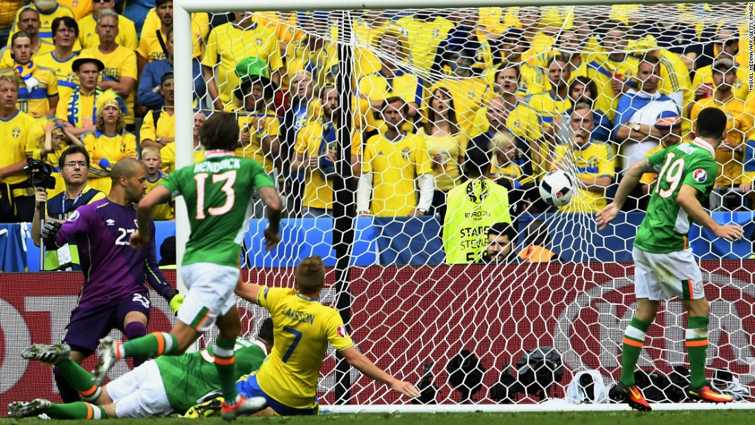 Irish goalkeeper Darren Randolph is helpless to stop the own goal, which came in the 71st minute.