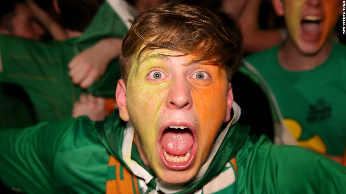 A fan enjoys the Hoolahan goal in Dublin, Ireland.