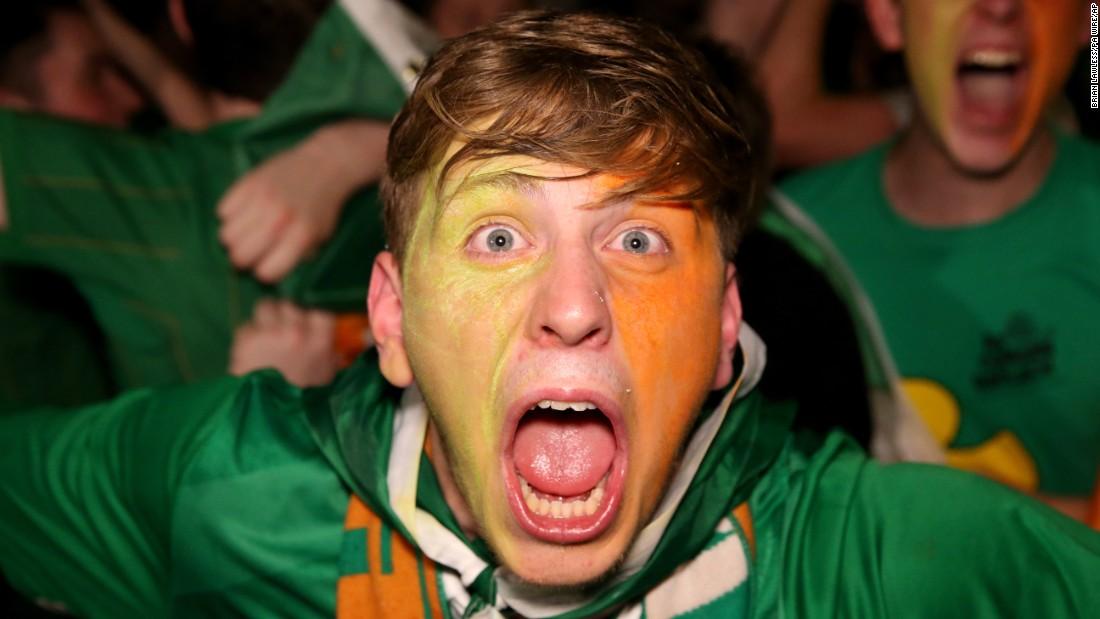 A fan enjoys the Hoolahan goal in Dublin, Ireland.