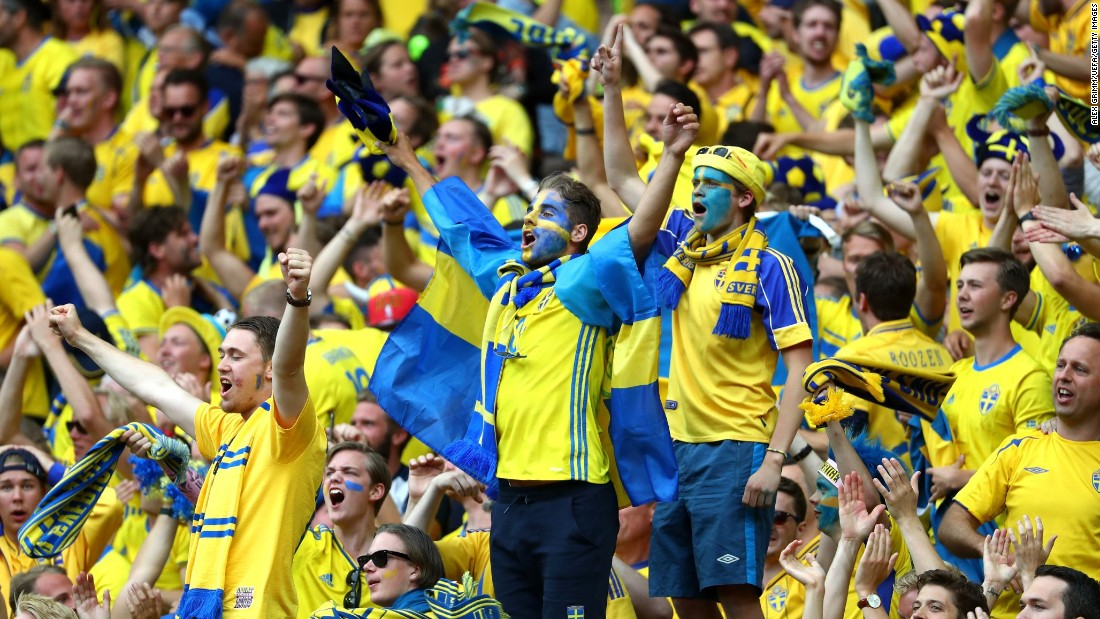 Sweden supporters celebrate the goal at the Stade de France just north of Paris.