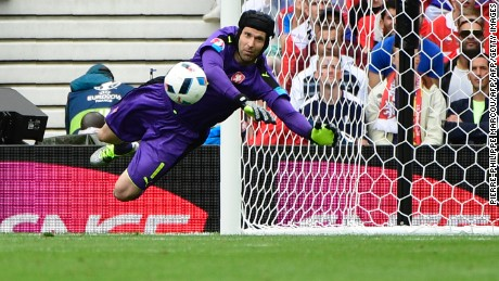 Petr Cech pulled off a number of saves to frustrate Spain.