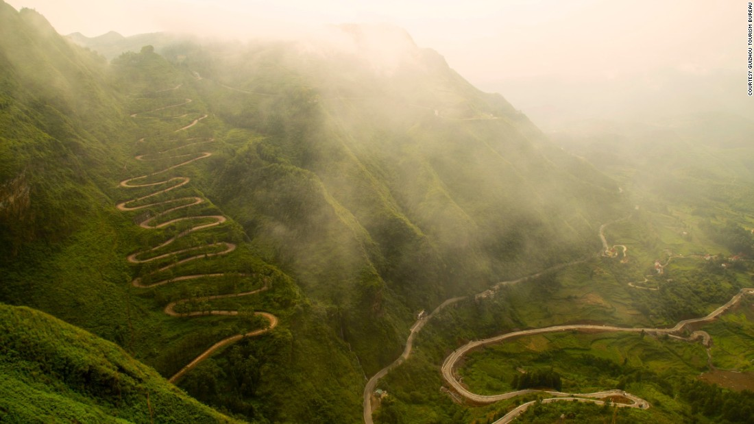 High-altitude terrain has long kept Guizhou inaccessible to outsiders. This road, which snakes up a mountain in southwestern Guizhou and has 24 bends, was used during World War II to transport guns, bullets and food.