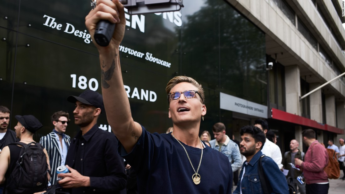 "Reality TV star and <a href=""http://sergedenimes.com/"" target=""_blank"">Serge DeNimes</a> founder Oliver Proudlock takes a selfie after Nasir Mazhar's Spring-Summer 2017 show, which contained prints, primary colors and neo-military ensembles."