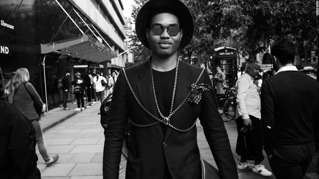 Not to be outdone, those in attendance were busy averting eyes from the catwalk. Style blogger Omiri Thomas wears Hugo Boss and Topman outside the central London venue.