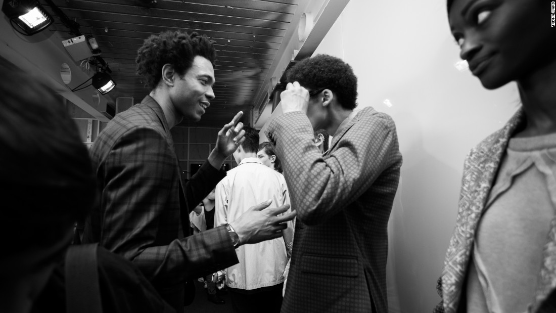Charlie Casely-Hayford talks to models behind the scenes. Working alongside his father Joe, the pair have built up an international following including James Blake, Mos Def and Drake. This season they launched their womenswear collection.