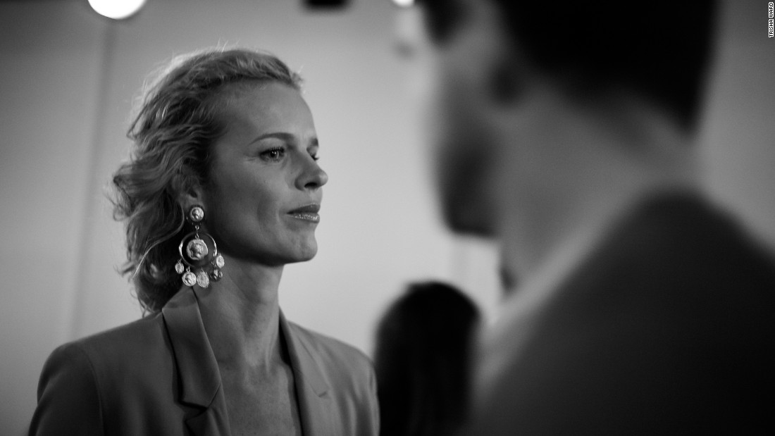 Czech model and actress Eva Herzigova attends Matthew Miller's show.