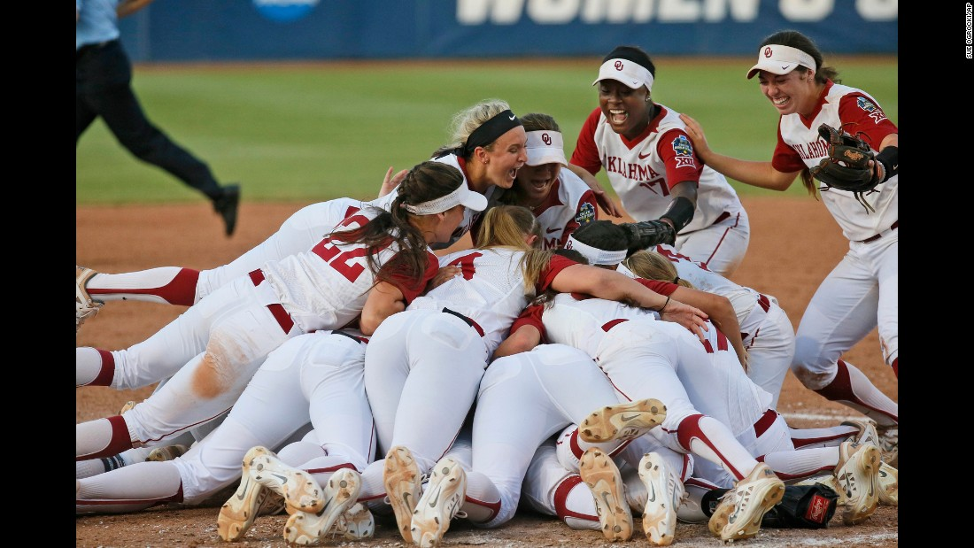 Oklahoma softball players celebrate after they defeated Auburn to win the College World Series on Wednesday, June 8. It is Oklahoma's third national title in the sport.