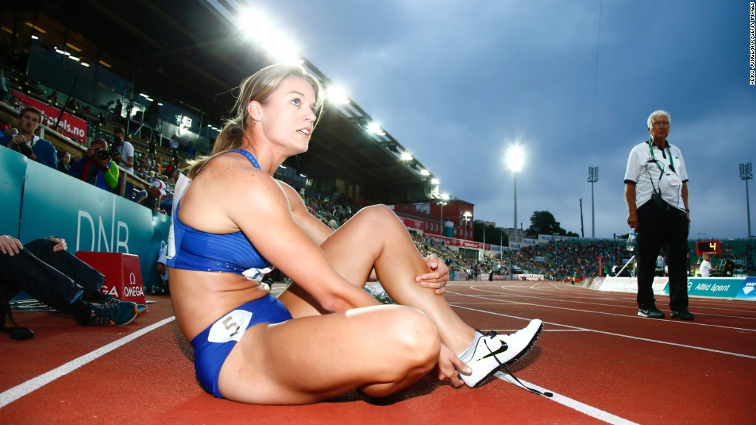 Dutch athlete Dafne Schippers rests after winning the 200 meters Thursday, June 9, at the Diamond League event in Oslo, Norway.