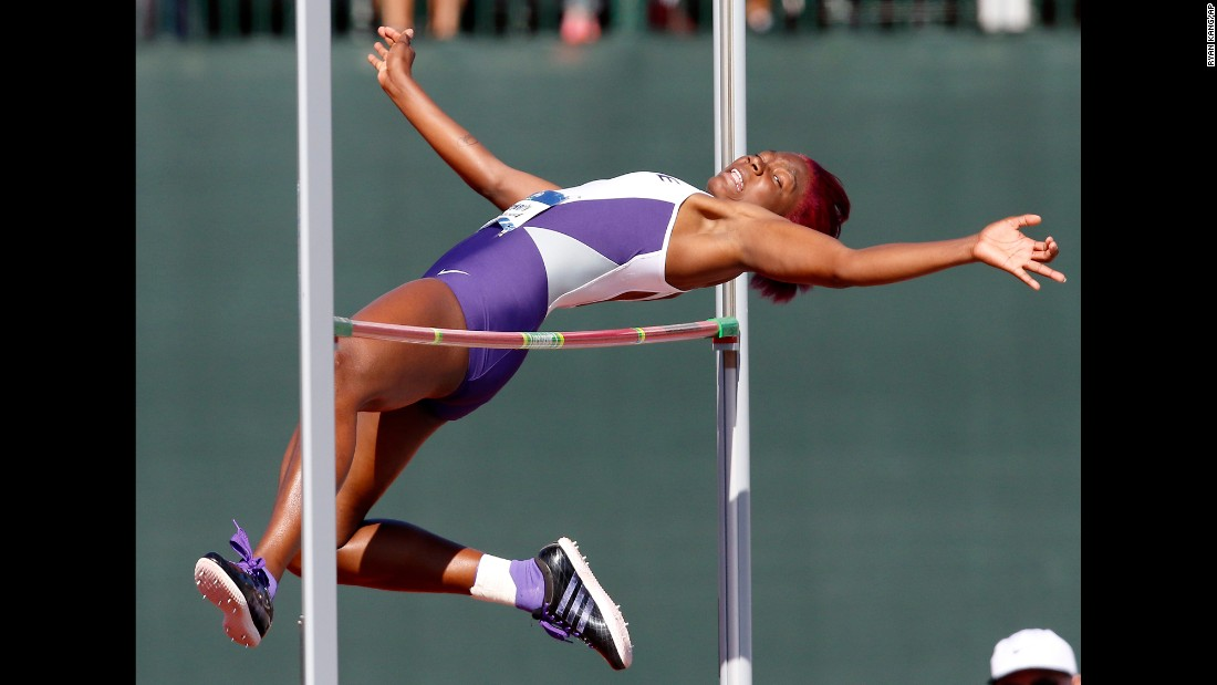 Kansas State's Kimberly Williamson clears the bar en route to winning the NCAA high jump title on Saturday, June 11. Her winning jump was 6 feet, 2 inches.