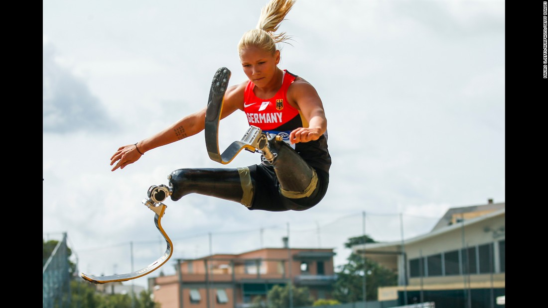 German Paralympic athlete Vanessa Low competes in the long jump during the European Championships on Saturday, June 11.