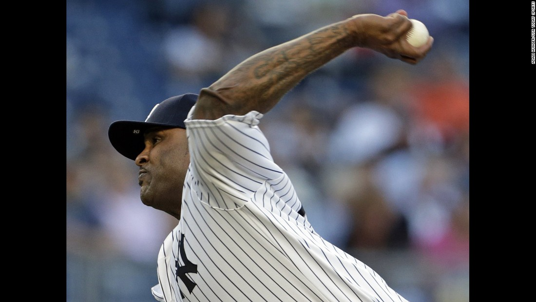 CC Sabathia pitches for the New York Yankees during a home game against Detroit on Friday, June 10.