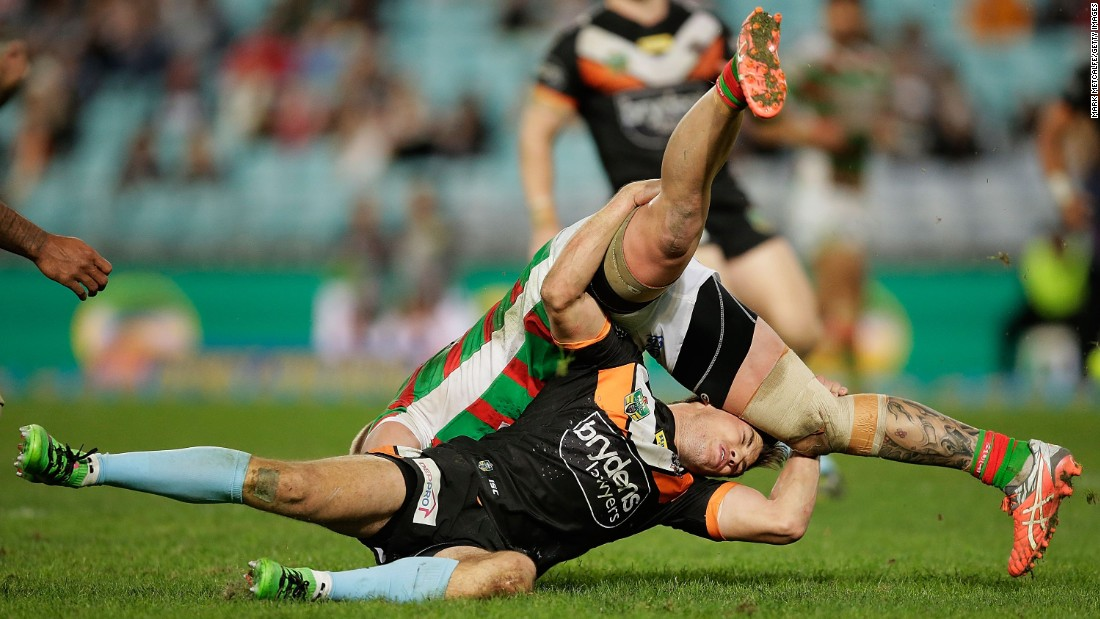 Luke Brooks of the Wests Tigers tackles Aaron Gray of the South Sydney Rabbitohs during a National Rugby League match in Sydney on Friday, June 10.