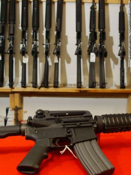 DENVER - SEPTEMBER 13:  A Colt AR-15, now legal with a bayonet mount, flash suppressor, collapsible stock and a high capacity magazine that holds more than 30 rounds, sits on the counter of Dave's Guns September 13, 2004 in Denver, Colorado. Between 1994 and September 13, 2004 these guns could only be sold to law enforcement and military but now it is legal for civilians to purchase them due to the expiration of the Brady Bill.  (Photo by Thomas Cooper/Getty Images)