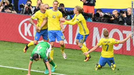 Sweden celebrate after equalizing in the 1-1 draw with the Republic of Ireland.