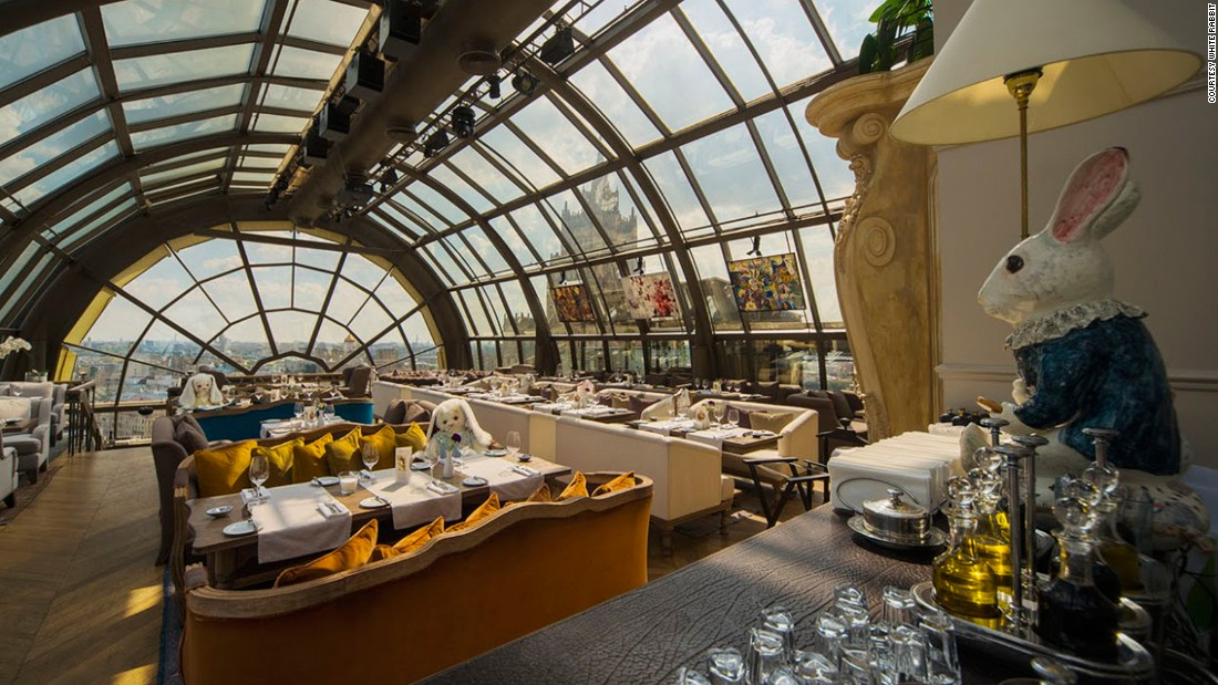 "Chef Vladimir Mukhin creates luxurious spins on classic Russian dishes at White Rabbit. The ""Alice in Wonderland""-inspired restaurant has spectacular sky-high views of the Russian capital."