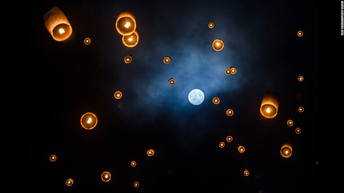Lanterns are released into the air at Borobudur temple during the Buddhist festival of Vesak in Magelang, Indonesia. The day marks the birth, enlightenment and death of Gautama Buddha, founder of Buddhism.