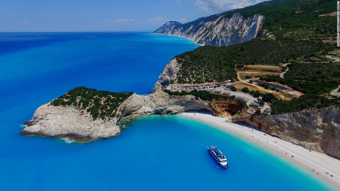 Porto Katsiki on the island of Lefkada is one of Greece's most stunning beaches. It's only accessible by 80 steep steps leading down the side of a cliff.
