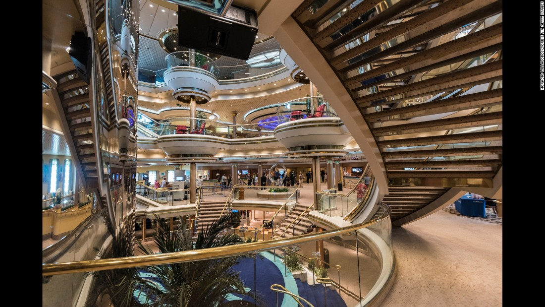 The interior of Pullmantur Cruises' MS Monarch is seen at Santa Apolonia Cruise Terminal in Lisbon during the ship's inaugural trip to Europe. The cruise ship holds up to 2,744 passengers.