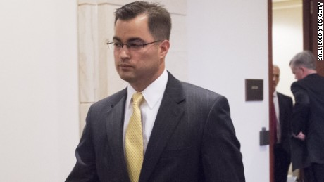 Bryan Pagliano, a former State Department employee who worked on former Secretary of State Hillary Clinton's private email server, leaves after invoking his Fifth Amendment right against self-incrimination before the House Select Committee on Benghazi on Capitol Hill in Washington on September 10, 2015.