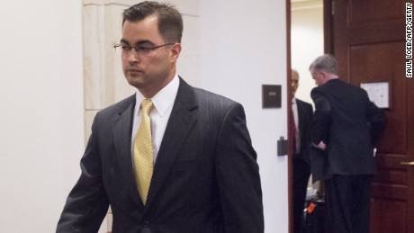 Bryan Pagliano, a former State Department employee who worked on former Secretary of State Hillary Clinton's private email server, leaves after invoking his Fifth Amendment right against self-incrimination before the House Select Committee on Benghazi, on Capitol Hill in Washington on September 10, 2015.