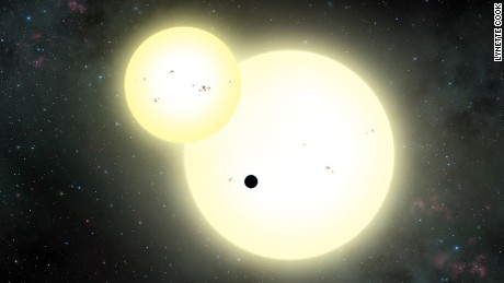 Artist's impression of the simultaneous stellar eclipse of Kepler-1647b.