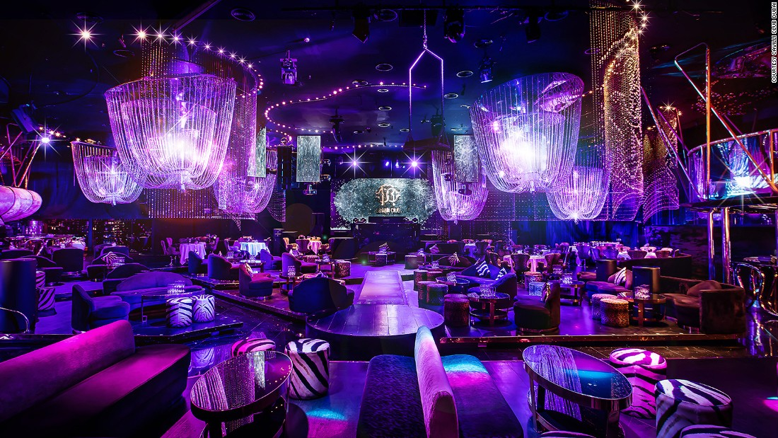 Chandeliers made of Swarovski crystals hang from the ceiling of the purple Cavalli Club Dubai. This is a party destination, but one that still offers a solid four-course Italian dinner.