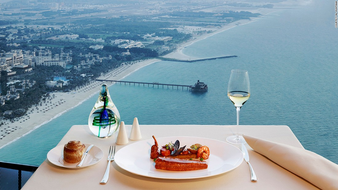 The Burj Al Arab is one of the properties that define the Dubai skyline. Its luxury dining staple is Al Muntaha, a contemporary European venue that sits 200 meters above sea level.