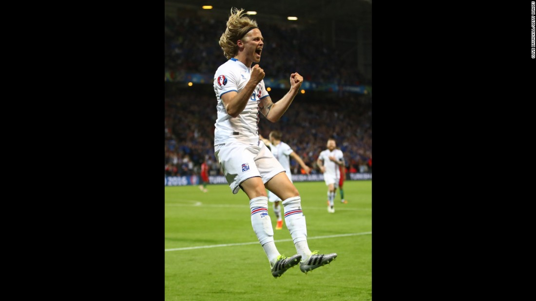 Bjarnason celebrates his goal.