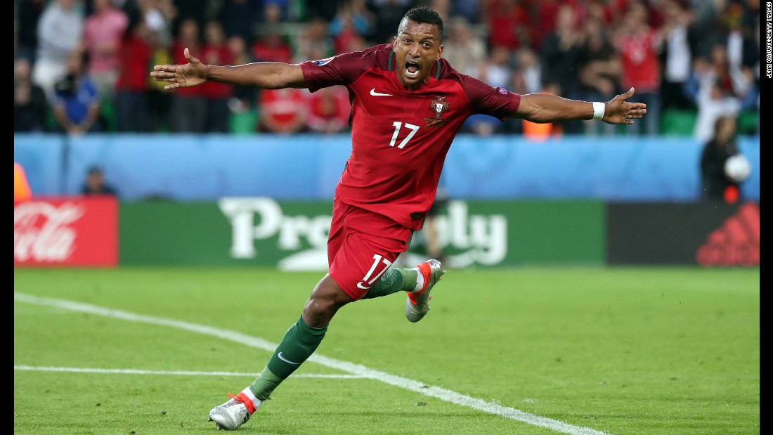 Nani celebrates the opening goal of the match, which he scored in the first half.