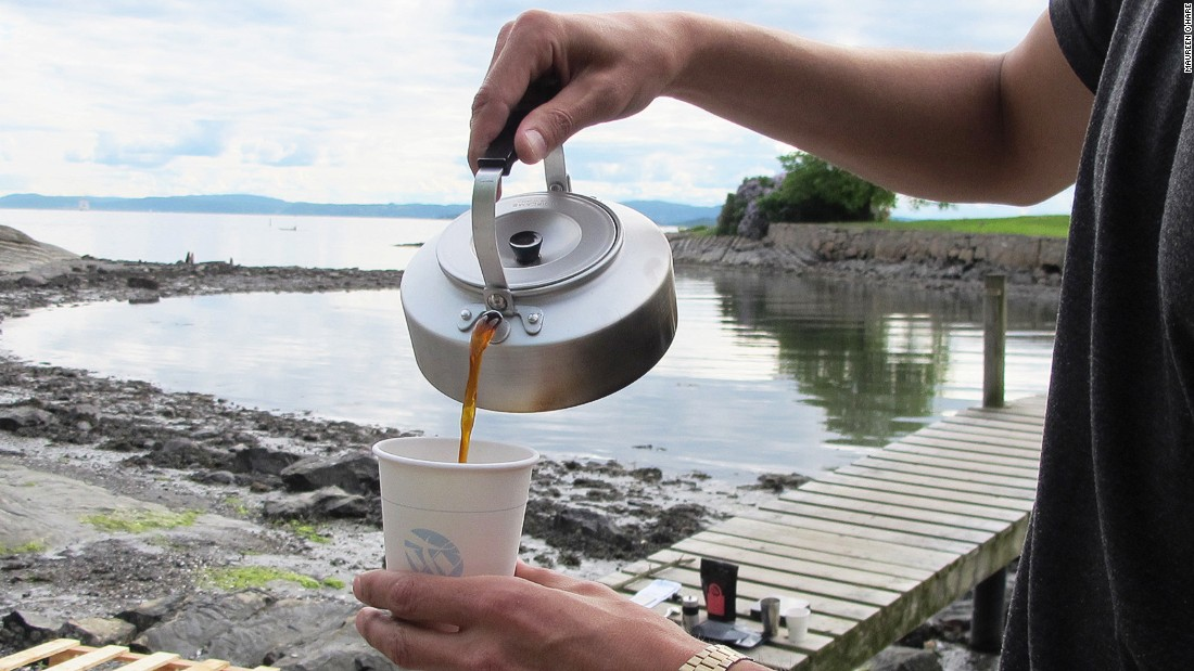 "Kokekaffe, or ""steeped coffee,"" is the traditional Norwegian campfire method of drinking coffee. ""Just boil the water, put the coffee in and let it steep for four minutes and then pour,"" says Tim Wendelboe. ""You get all the oils and much more viscosity."""