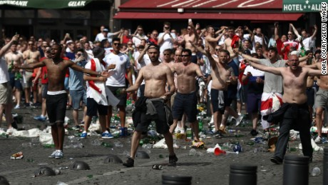 Raucous English fans throw bottles Saturday before the Euro 2016 match against Russia in Marseilles, France.